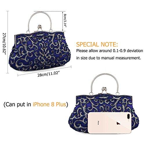 Style Purse Lady Handbag Temperament Clutch Baglamor Bag Beaded Vintage Blue Embroidery qfxw4