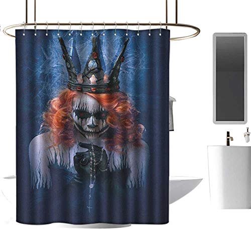 TimBeve Rustic Shower Curtain Queen,Queen of Death Scary Body Art Halloween Evil Face Bizarre Make Up Zombie, Navy Blue Orange Black,Design Waterproof Fabric Bathroom Shower Curtain 36