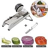 Mandoline Slicer,Adjustable Vegetable Slicer,Julienne Cutter,French Fry Cutter Built in Blades Fruit and Vegetables Cutter Tools With Peeler (Style 1)