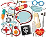 Birthday Galore Medical- Doctor & Nurse Photo Booth Props Kit - 20 Pack Party Camera Props Fully Assembled