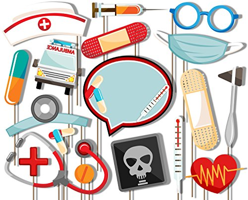 Medical- Doctor & Nurse Photo Booth Props Kit - 20 Pack Party Camera Props Fully Assembled