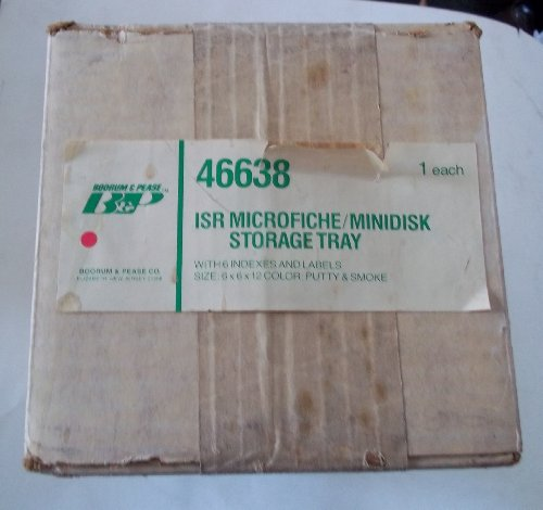 """Boorm Pease 46638 ISR Microfiche Minidisk Storage Tray With 6 Index and Labels 6"""" x 6"""" x 12"""" Putty Color"""
