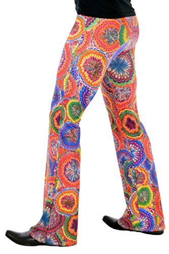 Revolver Fashion Psychedelic Men's Flare Pants: USA Made Flared Bell Bottoms (Small, Flower Power)]()