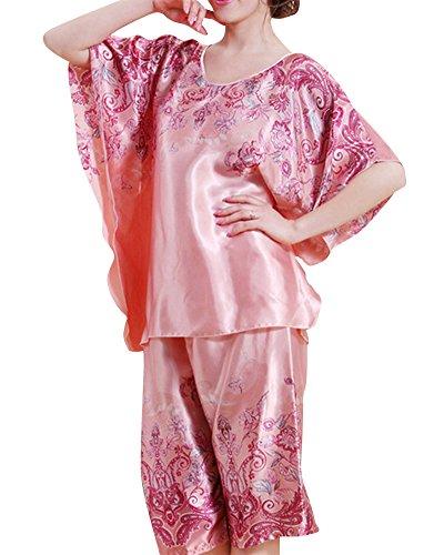 Mujer Conjunto Pijama Manga Corta Top Pantalones Pijama 2 Piezas Set Pink