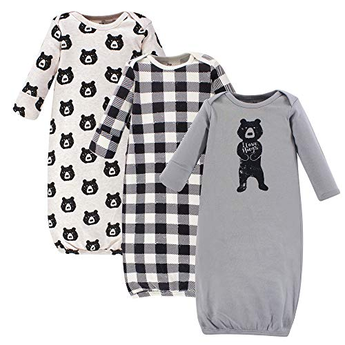 Yoga Sprout Cotton Gowns, 3 Pack, Bear Hugs, 0-6 Months (Bottom Gown)