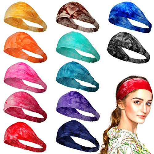 12 Pieces Tie Dye Headbands Bandana Elastic Yoga Wide Headwraps Colorful Wide Stretchable Cotton Sports Running Hairband for Girls Women, Assorted Colors
