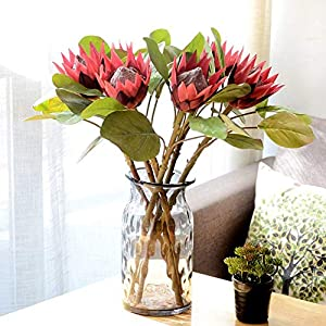 MARJON Flowers1Pc King Protea Artificial Flower Fake Plant DIY Wedding Bouquet Party Decor Wine Red 74