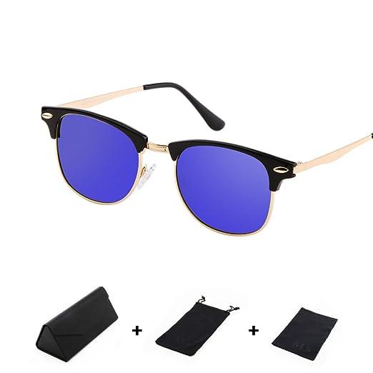 f277d234bc Ms Polarized Clubmaster Classic Half Frame Semi-Rimless Rimmed Sunglasses  Fashion classics (Black