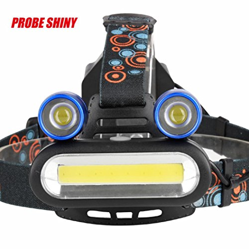 PROBE SHINY Headlamp, 15000LM 2x XM-L T6 LED +COB Rechargeable 18650 Headlamp Head Light Torch By Ikevan