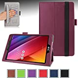 ASUS ZenPad S 8.0 (Z580C/Z580CA) Case - e-Planet PRO Series Professional Slim-Fit PU Leather Folio Case Cover Stand for ASUS ZenPad S 8.0 (Z580C/Z580CA) 8-inch Tablet with Auto Sleep/Wake Up Function, Hand Strap, Credit Cards/ID holders, Smart holder for Stylus/Pen, Secure elastic strap closure! PURPLE