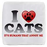 18 Inch 6-Sided Cube Ottoman Love Cats It's Humans That Annoy Me