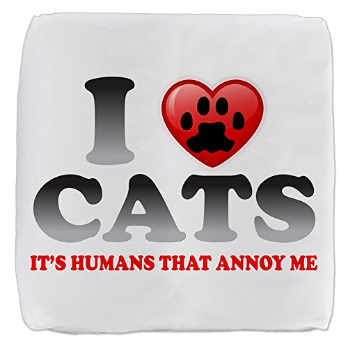18 Inch 6-Sided Cube Ottoman Love Cats It's Humans That Annoy Me by Royal Lion