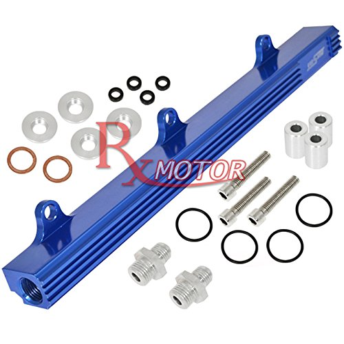 B16 Fuel Rail (Rxmotor B-SERIES B16 B18 Dual Cam VTEC High Flow Fuel Delivery Injection Rail Fitting (Blue))