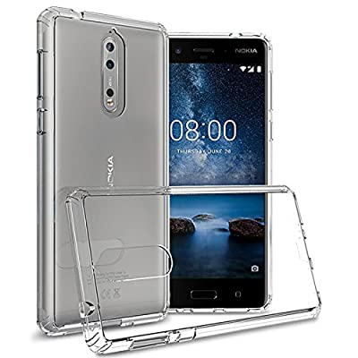 Nokia 8 Case, CoverON ClearGuard Series Hard Slim Fit Phone Cover with Clear Back and Flexible TPU Bumpers for Nokia 8 from CoverON