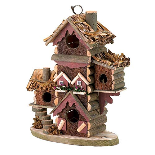 ZotoyaShop Avian Bird House Condo Gingerbread Style Birdhouse Roof Wood ()