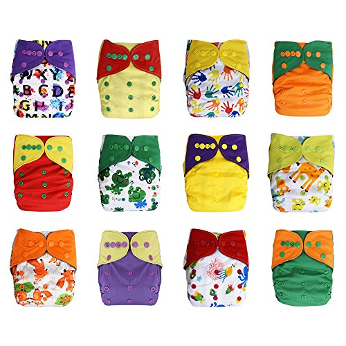 One Size Reusable Charcoal Bamboo Cloth Pocket Diapers, 12-pack Bundle Set + 24 Inserts (Unisex) by Ecoable