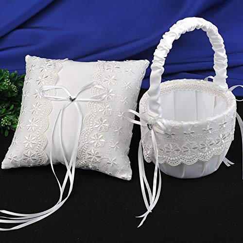 AW Wedding Flower Girl Basket and Ring Bearer Pillow Set in White with Lace - Perfect for Wedding Ceremony -