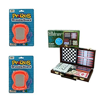 Bulk Buys 6 In 1 Game Set and 2 Mini Magic Drawing Boards Bundle