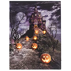 OSW LED Lighted Scary Path to Spooky Halloween Haunted House Jack-O-Lanterns Canvas Wall Art 15.75 x 11.81