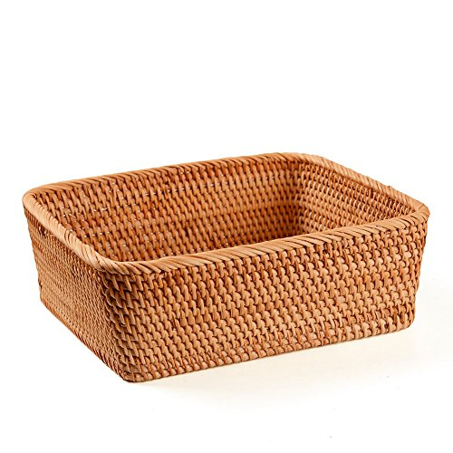 AMOLOLO Handmade Rectangle Wicker Fruit Box Rattan Tray Magazine Organizer and Small Objects Container Serving Basket (Large-11.6
