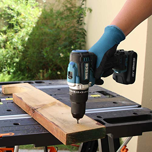 Brushless Cordless Drill, WESCO 18V 2.0Ah Cordless Combi Drill with 13 Accessories, max Torque 60 N.m, 22 + 1 + 1, 2 Speed (0-500/0-2000 /min), with Belt Clip, Battery and Charger