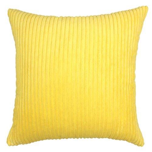 YOUR SMILE Solid Decorative Toss Pillow Case Striped Corduroy Plush Velvet Cushion Cover for Sofa, Yellow, 26x26-inch