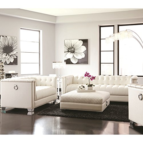 A Line Furniture Classic Mid-Century Button Tufted Design Living Room Sofa Collection with Chrome Doorknocker Handles Pearl/Chair, Ottoman