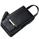 Mini Cell Phone Bag Black, Small Chain Shoulder Cross Body Bag for Women Girls, Uniuooi PU Leather Travel Neck Pouch Money Wallet with Handle Coin Pouch Tickets Card Organiser