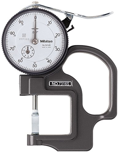 Mitutoyo 7316S Dial Thickness Gage, Groove Thickness Blade Anvil, 0-0.5