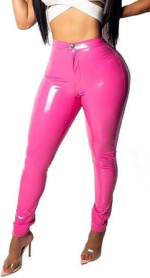 Womens Winter Faux Leather High Waist Skinny Club Stretchy Fleece Pencil Pants