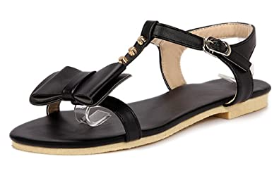 781603e5501a08 Women s Cute Bowknot and Open Toe Designed T-Strap Flat Sandals Size 4-10.5