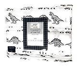 Hillcrest kids Dinosaur in Traffic Gray Scale on White FULL Sheet Set | 100% Cotton