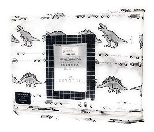 Hillcrest kids Dinosaur in Traffic Gray Scale on White FULL Sheet Set | 100% Cotton by Hillcrest kids