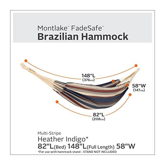 "Classic Accessories Montlake FadeSafe Brazilian Hammock, Heather Indigo Multi-Stripe - Hammock bed size is 82"" long x 58"" W, full length including ropes is 148"" Maximum weight capacity 450 lbs/200 kg One-year limited warranty - patio-furniture, patio, hammocks - 51J35UQIHhL. SS570  -"