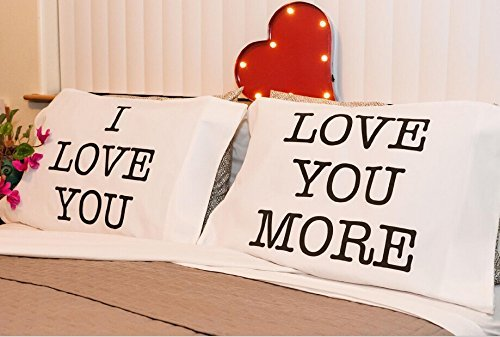 Sweet and Romantic I Love You & Love You More Couple Pillow Covers, Perfect Pair of Soft and Plush Cotton Polyester Pillow Cases, Standard Size, Best Anniversary, Wedding, Valentine's Day Gift (Sweetest Day Gift Ideas)