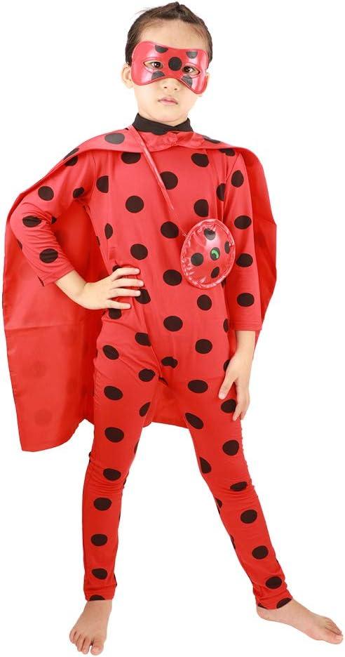 Yoyo e Mask 4pcs Fancy Dress Set M, Rosso HuangWeida Costumi di Ladybug Cosplay Tuta con Capo Supereroe