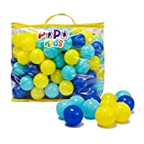 PoPo Kids Pack of 200 Balls, Phthalate Free BPA Free, Crush Proof Plastic Ball, Pit Balls, Durable Storage Mesh Bag with Zipper (PoPoStar)