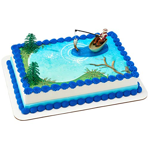 Fisherman with Action Fish DecoSet Cake Decoration]()