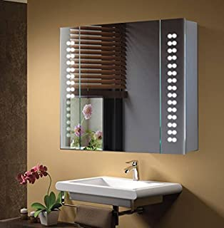 MIMEO - Mirror Bathroom Cabinet / Shaver Socket / LED Light - White ...
