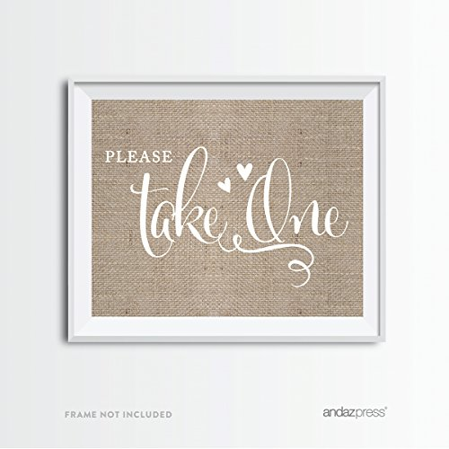 Andaz Press Wedding Party Signs, Country Chic Burlap Print, 8.5x11-inch, Please Take One, 1-Pack