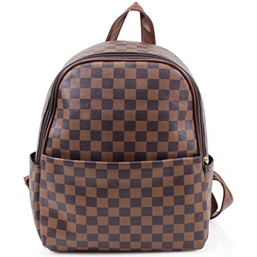 LeahWard Women's Girl's Nice Designer Backpack Bags Ladies Quality Rucksack Bag School Handbags 186 BROWN Checkered