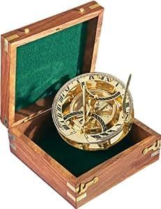 PANAMA - Reloj solar grande, en caja de madera (incluye brújula de regalo)