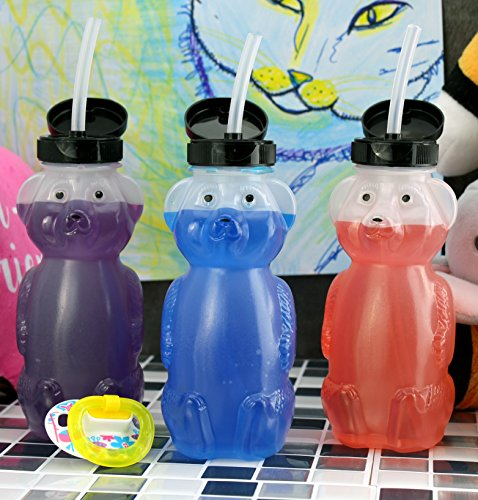 Honey-Bear-Straw-Cups-3-Pack-Bear-Family-8-Ounce-Therapy-Sippy-Bottles-w-Flexible-Straws
