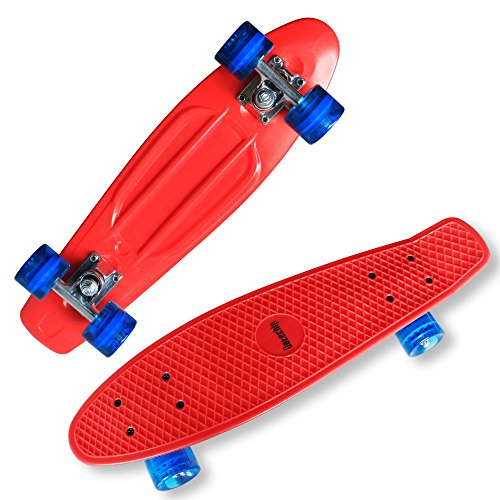 Datechip Kids Mini Cruiser Skateboards 22 Complete Plastic Skate Boards with Super PU Wheels for Beginners