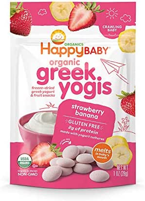 Happy Baby Organic Greek Yogis Freeze-Dried Greek Yogurt and Fruit Snacks Strawberry/Banana, 1 Ounce Bag (Packaging May Vary)