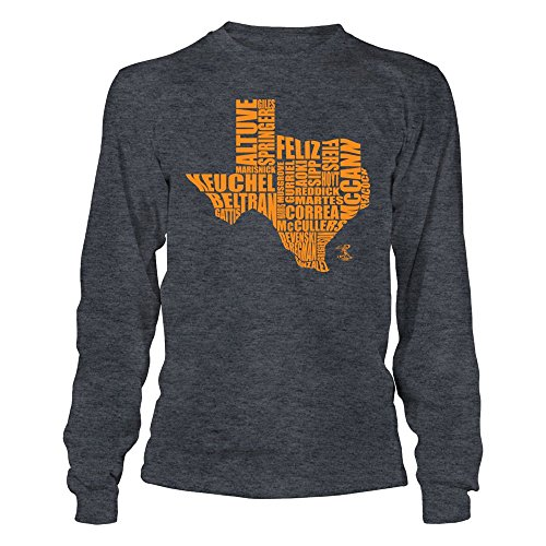 FanPrint Jose Altuve - State Outline Roster - Gildan Long-Sleeve T-Shirt - Officially Licensed Fashion Sports Apparel ()