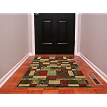 "Ottomanson Ottohome Collection Contemporary Boxes Design Area Rug, 3'3""W x 5'0""L, with Non-Skid Rubber Backing, Multicolor"