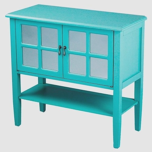 Heather Ann Creations Modern 2 Door Accent Console Cabinet With 4 Pane Mirror Insert and Bottom Shelf (Mirror Insert Accents)