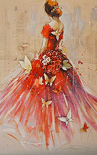 Diy 5D Diamond Painting Kit, Butterfly Skirt Woman?Embroidery Rhinestone Cross Stitch Arts Craft Canvas Wall Decor(Frameless)