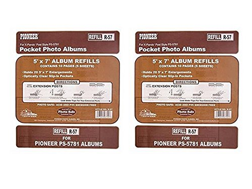 Set of 2 Pioneer Double 5x7 Pocket Album Refill Page bundled by Maven (Photo Album Templates)